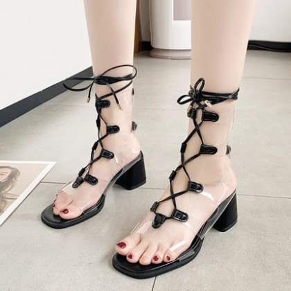 Women Transparent Lace Fairy Style Fashion Roman High Heels Shoes