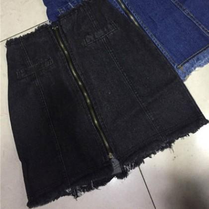 Women High-Waist Zipped Slim Fit Denim Skirt