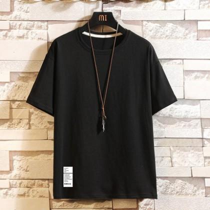 Men Clothing Short-sleeved Casual Plain T-shirt