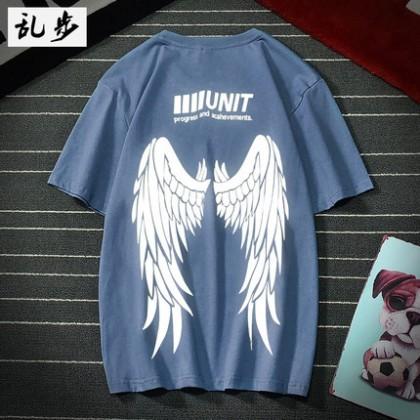 Men Clothing Short-sleeved Casual Angel Wings Design T-shirt