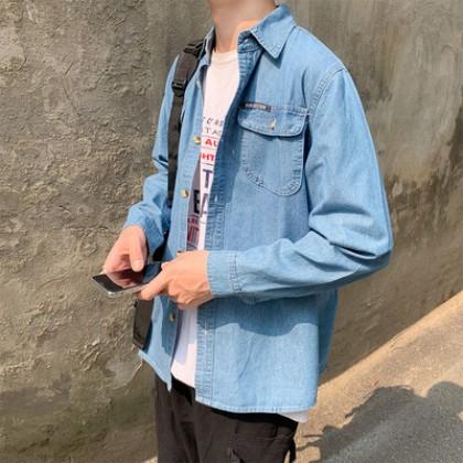 Men Clothing Long-sleeved Casual Loose Shirt Denim Jacket