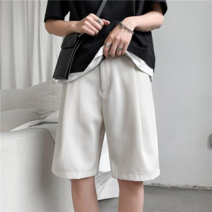 Men Clothing Summer Solid Color Short Straight Five-point Pants