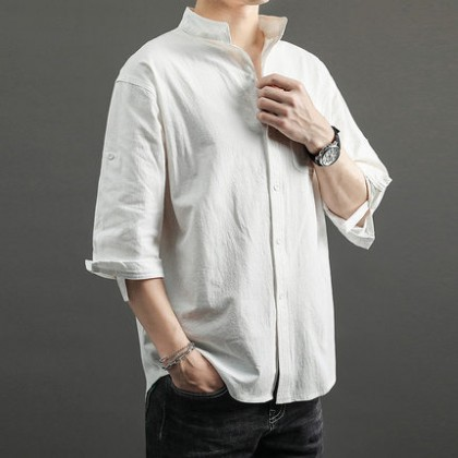 Men Clothing Summer Short-sleeved Loose Casual Solid Color Buttoned Shirt