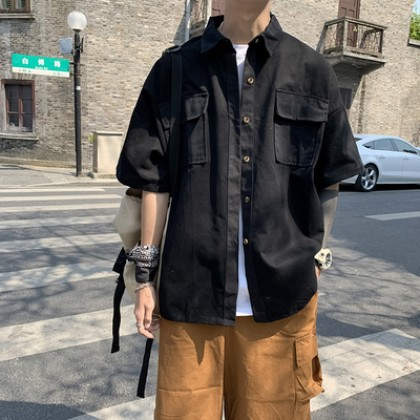 Men Clothing Summer Short-sleeved Loose Casual Five-point Sleeve Jacket