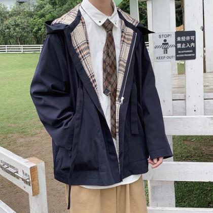 Men Clothing Retro Classic Hooded Loose Jacket