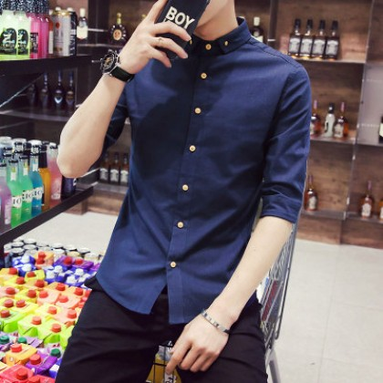 Men Linen Basic Short Sleeve Shirts