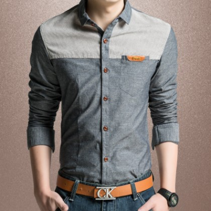 Men Mixed Color Casual Pocket Long Sleeve Shirt