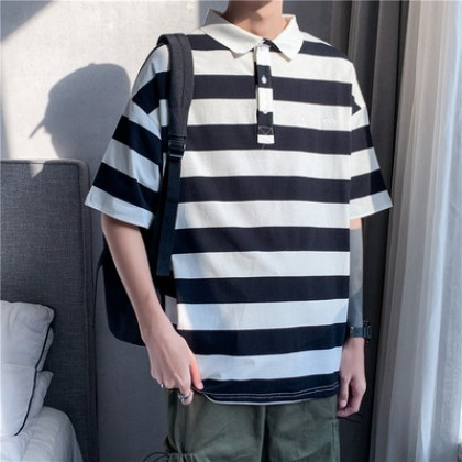 Men Clothing Summer Short-sleeved Half-sleeved Striped Polo T-shirt