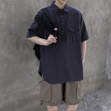 Men Clothing Summer Short-sleeved Vertical Striped Shirt