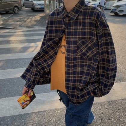 Men Clothing Summer Short-sleeved Loose Plaid Shirt