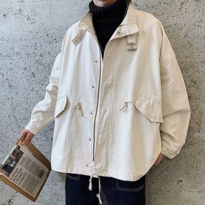 Men Clothing Retro Loose Casual Student Jacket
