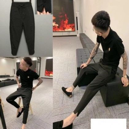 Men Clothing Summer Casual Solid Color Split Trousers