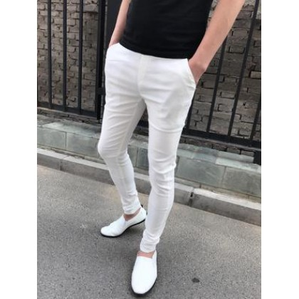 Men Clothing Tight-fitting Casual Slim Trousers