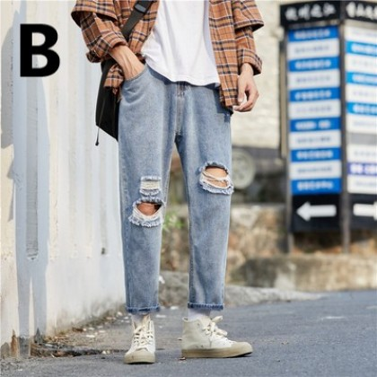 Men Clothing Ripped Nine-point Jeans Loose Denim Trousers