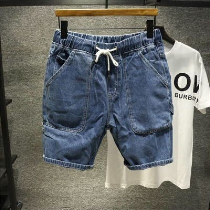 Men Clothing Five-point Denim Straight Slim Casual Pants