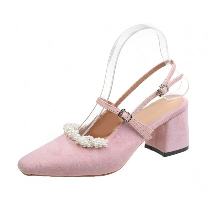 Women Retro Pearl Thick Heel Leather Shoes