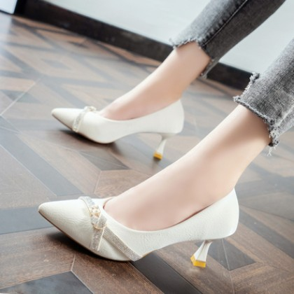 Women Rhinestone Pointed Toe All-match Sexy High Heels Stiletto