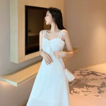 Women Clothing Suspender Long Hepburn Little Dress Long Skirt
