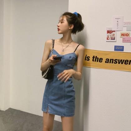 Women Clothing Suspender Denim Short Skirt