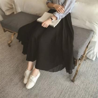 Women Clothing High Waist Mid-length Beach Skirt