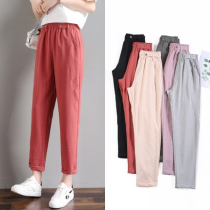 Women Clothing Loose Casual Cotton Linen Nine-point Pants
