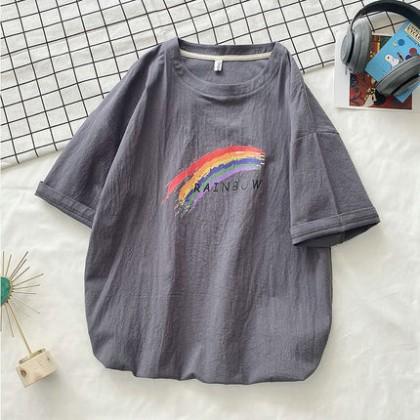 Men Clothing Rainbow Print Short-sleeved Shirt
