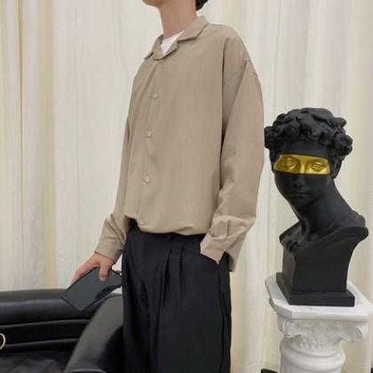 Men Clothing Long-sleeved Loose Casual Minimalist Shirt
