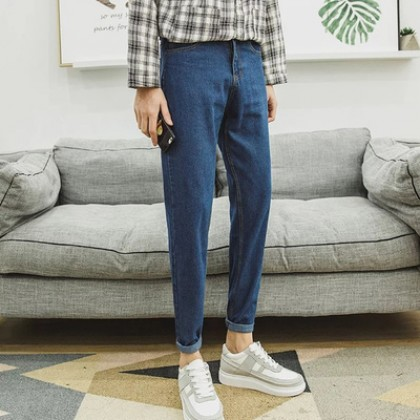 Men Clothing Loose Raw Edge Straight Nine-point Pants