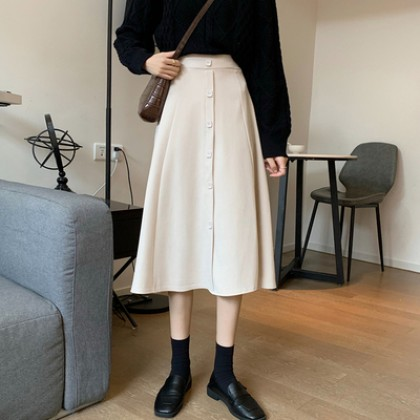 Women Clothing High-waisted A-line Mid-length Skirt