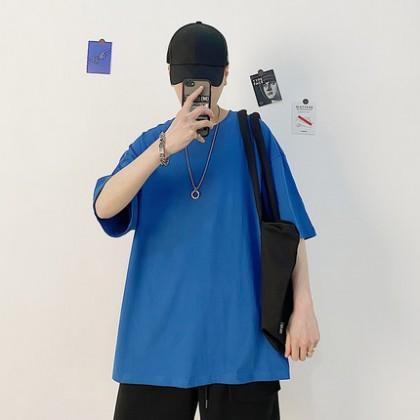 Men Clothing Short-sleeved Loose Simple Plain Shirt