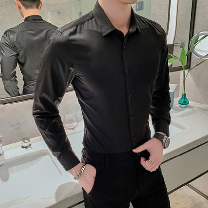 Men Clothing Short-sleeved Loose Casual Business Formal Shirt