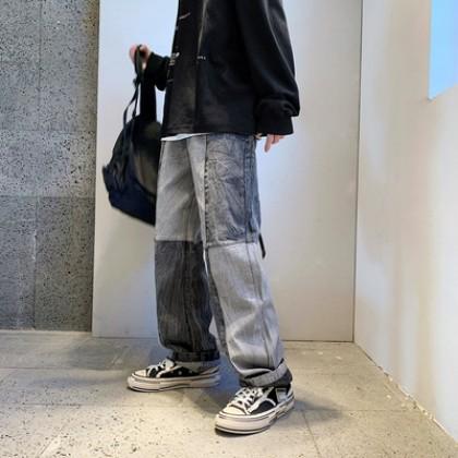 Men Clothing Summer Loose Hip-hop Washed Old Jeans