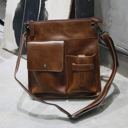 Men Vertical Retro Mailman Messenger Bag