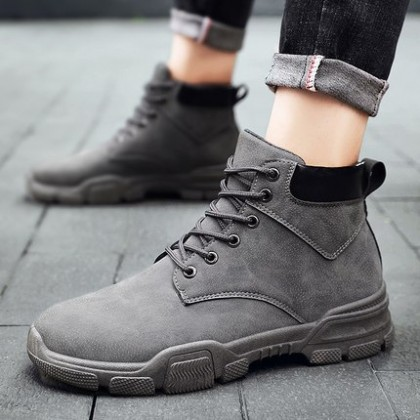 Men High Top British Casual Military Boots Trendy Shoes