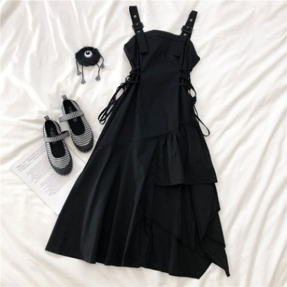 Women Clothing Black Suspender Long Skirt Dess