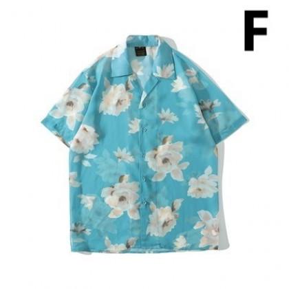 Men Clothing Retro Pattern Printed Shirt