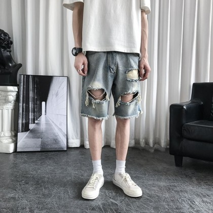 Men Clothing Retro Ripped Five-point Straight Loose Shorts
