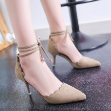 [PRE-ORDER] Women Wave Edge Pointed Suede Lace High Heels