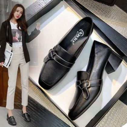 Women British Style Mid-heel Loafers High-heeled Shoes