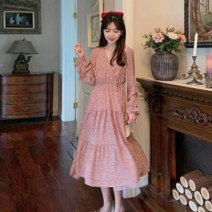 Women Clothing French Retro Puff Sleeve Waist Skirt Dress