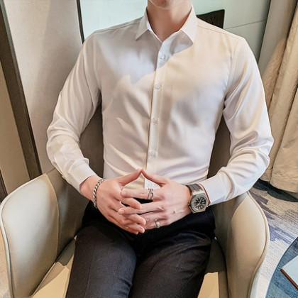 Men Clothing Long Sleeves Business Casual Formal Wear Shirt