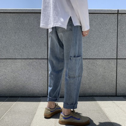 Men Clothing Retro Jeans Wide-leg Nine-point Pants
