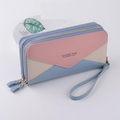 Women New Double Zipper Large Capacity Mobile Phone Bag