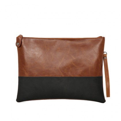 Men Retro Leather Clutch Two Color Bag