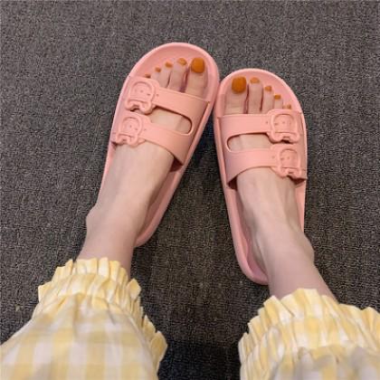 Women Casual Heart Slippers Summer Soft Non-slip Bath Sandals