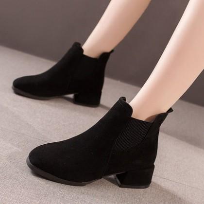 Women All-match Fashion High Heels Short Boots