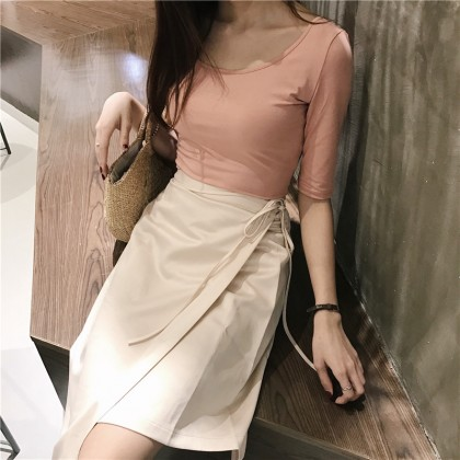 Women Clothing Lace-up Mid-length Long Skirt
