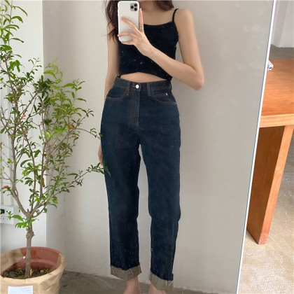 Women Clothing High Waist Retro Straight Pants