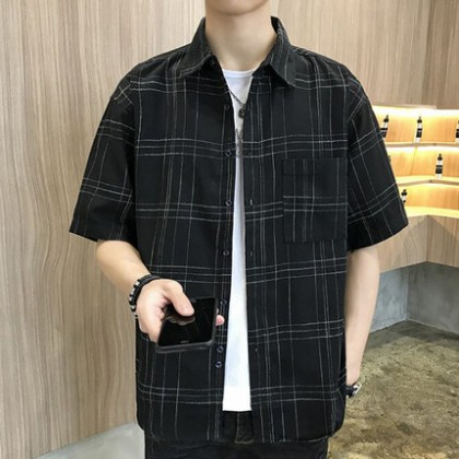 Men Clothing Short-sleeved Trendy Plaid Shirt