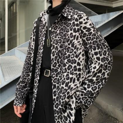 Men Clothing Leopard Loose Long-sleeved Shirt